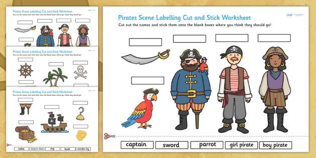 Pirates Scene Labelling Cut and Stick Worksheet - cut, stick