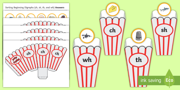Sorting beginning digraphs ch, sh, th and wh Cut-Outs  - Sorting, digraphs, sounds, letters, grapheme, phonic,Australia