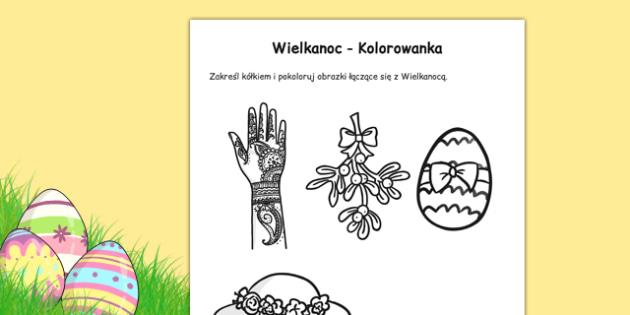 Kolorowanka Wielkanoc po polsku - święta, pisanki , worksheet