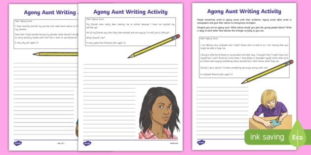 Sex and Relationships Education (Menstruation): Agony Aunt Writing Activity Sheet, worksheet, sex education