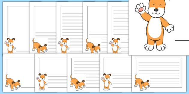 Dog Themed Page Borders Pack to Support Teaching on The Blue Balloon - kipper, kipper the dog, kippers birthday, page borders