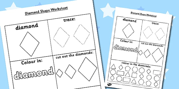 Diamond Shape Worksheet - diamond shape, worksheet, diamond, shape