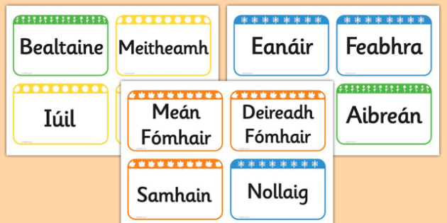 Months of the Year Flashcards Gaeilge - gaeilge, months, year, flash cards, flash, cards