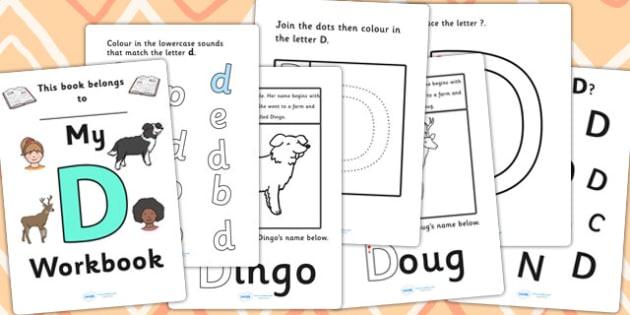 My Workbook D uppercase - workbook, D sound, uppercase, letters, alphabet, activity, handwriting, writing