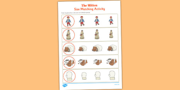 The Mitten Size Matching Worksheets - the mitten, size matching, worksheets
