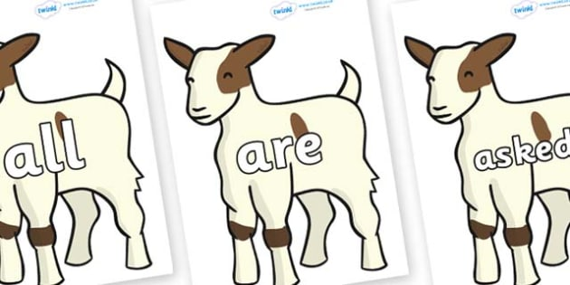 Tricky Words on Baby Goats - Tricky words, DfES Letters and Sounds, Letters and sounds, display, words