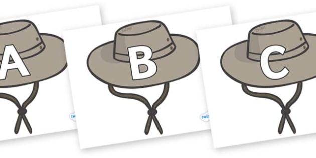 A-Z Alphabet on Cowboy Hats - A-Z, A4, display, Alphabet frieze, Display letters, Letter posters, A-Z letters, Alphabet flashcards