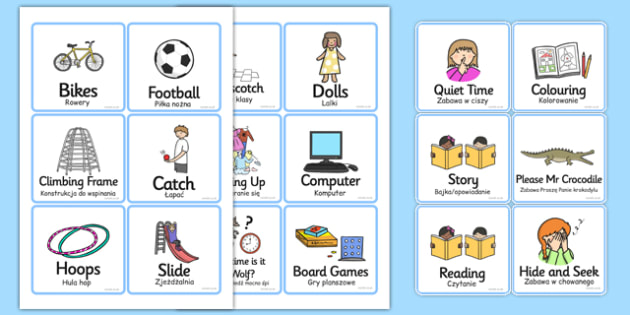 Playtime Cards Polish Translation - polish, playtime, cards, play, time, activities, games, 4 per A4, playing, fun, games, game cards, cards for playtime, card activities