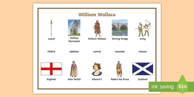 William Wallace Word Mat - CfE Scottish Significant Individuals, William Wallace, word mat, William Wallace vocabulary ,Scottis