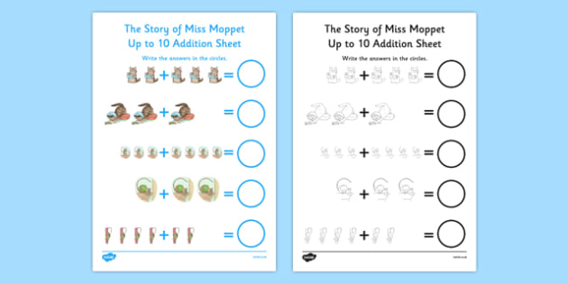 Beatrix Potter - The Story of Miss Moppet Up to 10 Addition Sheet - beatrix potter, story, story book, tale, miss moppet, 10, addition, maths, numeracy