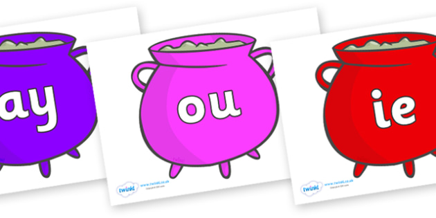 Phase 5 Phonemes on Cauldrons (Multicolour) - Phonemes, phoneme, Phase 5, Phase five, Foundation, Literacy, Letters and Sounds, DfES, display
