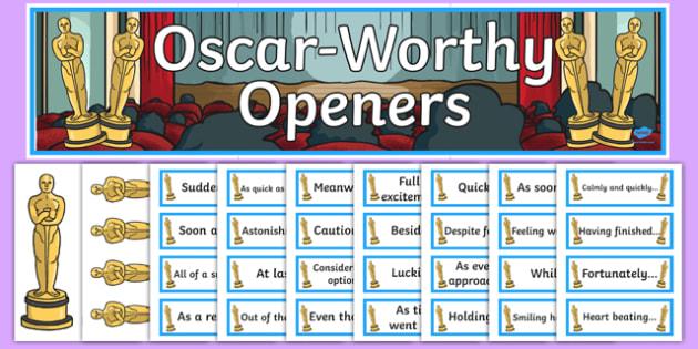 Oscar Worthy Openers Display - oscars, openers, openers display, oscards display, literacy, display words, themed display, classroom display, display