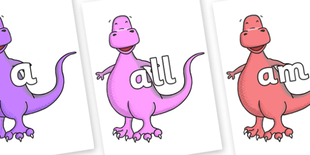 Foundation Stage 2 Keywords on Tyrannosaurus - FS2, CLL, keywords, Communication language and literacy,  Display, Key words, high frequency words, foundation stage literacy, DfES Letters and Sounds, Letters and Sounds, spelling