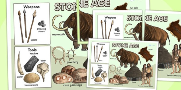 The Stone Age Large Display Poster - stone age, posters, history