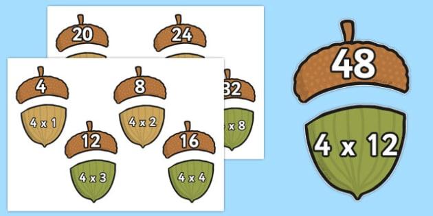 Multiplication 4x Acorn Matching Activity - multiplication, 4x, acorn, matching, activity