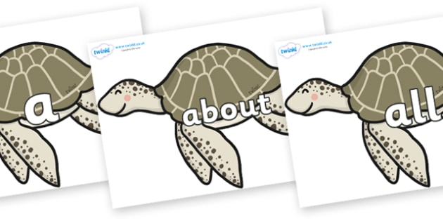 100 High Frequency Words on Turtles - High frequency words, hfw, DfES Letters and Sounds, Letters and Sounds, display words
