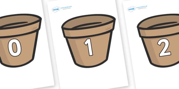 Numbers 0-50 on Flower Pots (Plain) - 0-50, foundation stage numeracy, Number recognition, Number flashcards, counting, number frieze, Display numbers, number posters