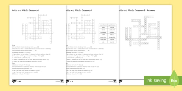 KS3 Acids and Alkalis Crossword