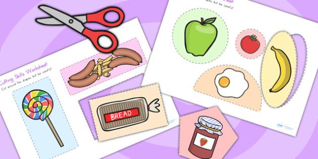 Food Themed Cutting Skills Worksheets - fine motor skills, cut