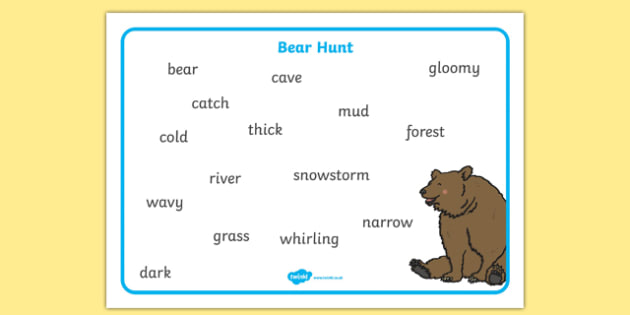 Bear Hunt Word Mat (Text) - bear hunt, word mad, words, mat