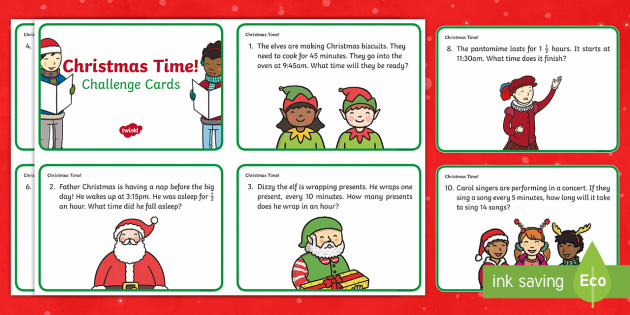 Year 2 Christmas Maths Time Challenge Cards - Christmas, Nativity, Jesus, xmas, Xmas, Father Christmas, Santa, St Nic, Saint Nicholas, traditions,
