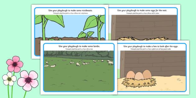 Spring Playdough Mats Romanian Translation - romanian, spring, playdough mat, spring playdough mat, spring playdough, weather and seasons, seasons, playdough, play dough, play doh