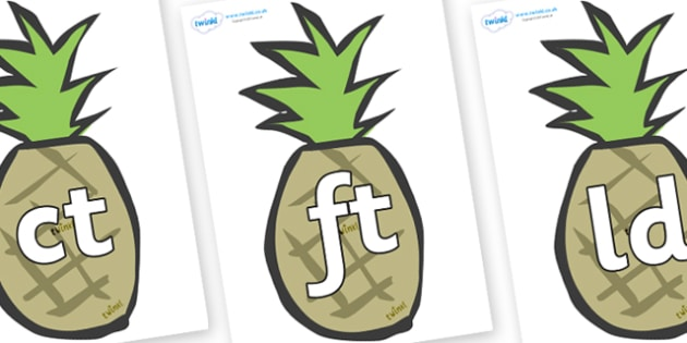Final Letter Blends on Pineapples - Final Letters, final letter, letter blend, letter blends, consonant, consonants, digraph, trigraph, literacy, alphabet, letters, foundation stage literacy