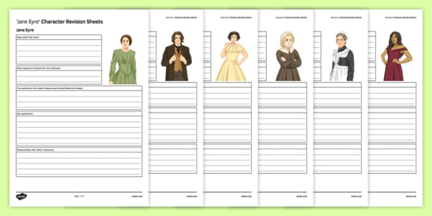 Jane Eyre Character Revision Activity Sheet Pack, worksheet