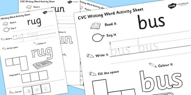 CVC Writing Word Activity Sheet Pack 'u' with British Sign Language, worksheet