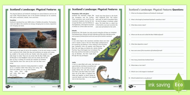 Scotland's Landscape Physical Features Differentiated Reading Comprehension Activity-Scottish - CfE, Scotland's landscape, physical features, mountains, rivers, hills, glens, coastline, geography