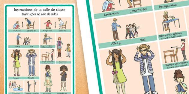 French Instruções na sala de aulas Portuguese Translation - portuguese, classroom instructions, word grid, word, grid