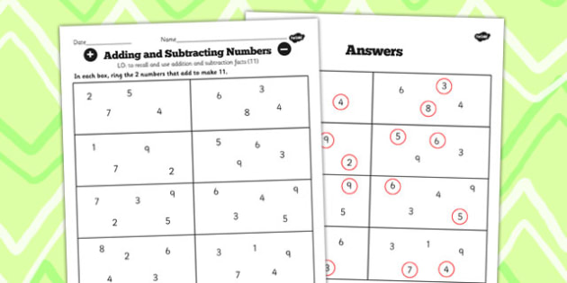 Number Facts to 20 Find Pairs to 11 Worksheet - number, facts