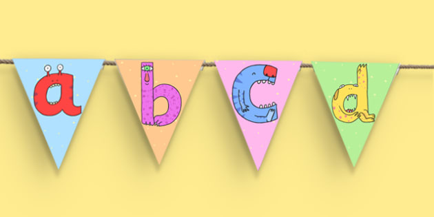 Lower-Case Monster Alphabet Display Bunting - letters, formation, display