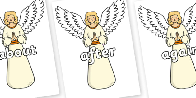 KS1 Keywords on Angels - KS1, CLL, Communication language and literacy, Display, Key words, high frequency words, foundation stage literacy, DfES Letters and Sounds, Letters and Sounds, spelling