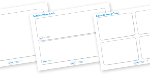 Editable Word Cards - Word card, word cards, editable, editable card, foundation stage, topic, numeracy, literacy, letters and sounds, DfES, KS1