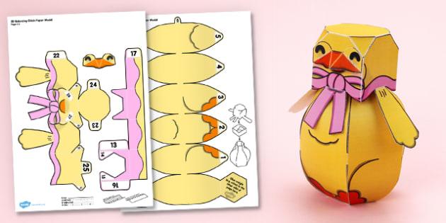 3D Easter Balancing Paper Chick Model Display - 3d, easter, balancing, paper chick, model, display