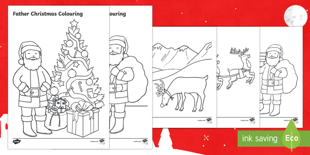 Father Christmas Colouring Pages