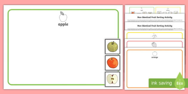 Workstation Pack: Non Identical Fruit Sorting Activity Pack