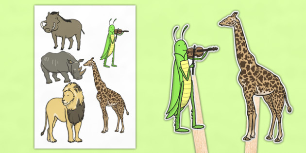 Dancing Giraffe Themed Stick Puppets - Giraffes, dance, animals, Africa, safari, acting, act, re-enact, retell, play, roleplay, Giraffes Can