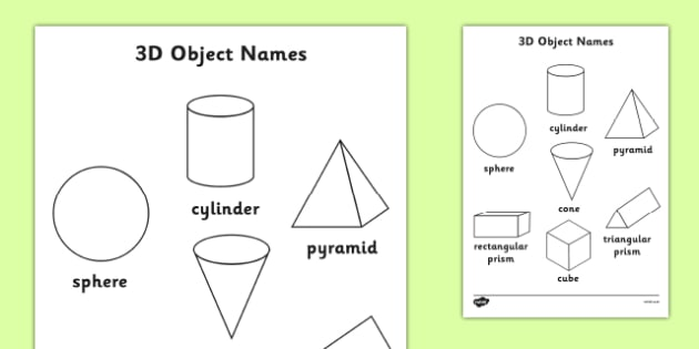 3D Object Words Colouring Sheet Australia  - 3D, 3, dimension, properties, shape, shapes, faces, edges, cube, cuboid, sphere, sylinder, compare, maths