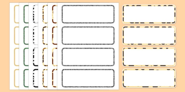 African Safari Word Labels (Editable)- Africa, Safari, word labels, word card, lion, cheetah, puma, jaguar, rhino, hippo, elephant, giraffe, antelope
