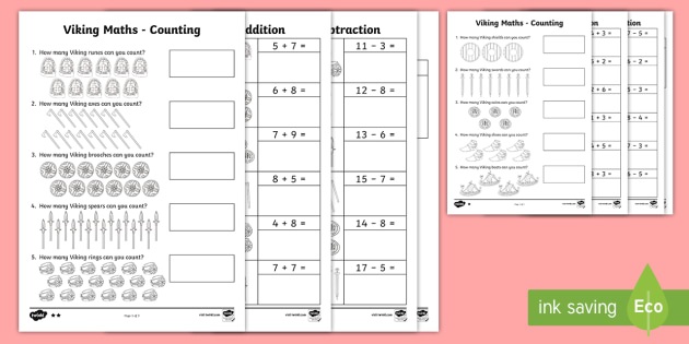 Viking Addition and Subtraction Activity Sheets - KS1 Maths, addition, add, plus, total, more, greater than, altogether, equals, subtraction, subtract