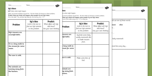 Predicting What Might Happen Worksheets to Support Teaching on Ug - ug, worksheets