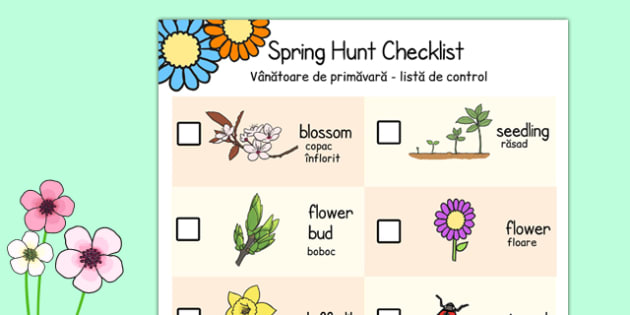 Spring Hunt Checklist Romanian Translation - romanian, spring, seasons, easter, hunt, easter hunt, objects hunt, can you see?, spring sensory walk checklist, walk checklist, spring walk checklist, spring hunt, spring search