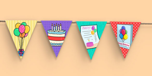 Birthday Party Picture Bunting - birthday party, picture, bunting, display bunting, picture bunting, display