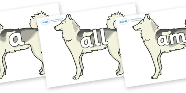 Foundation Stage 2 Keywords on Huskies - FS2, CLL, keywords, Communication language and literacy,  Display, Key words, high frequency words, foundation stage literacy, DfES Letters and Sounds, Letters and Sounds, spelling