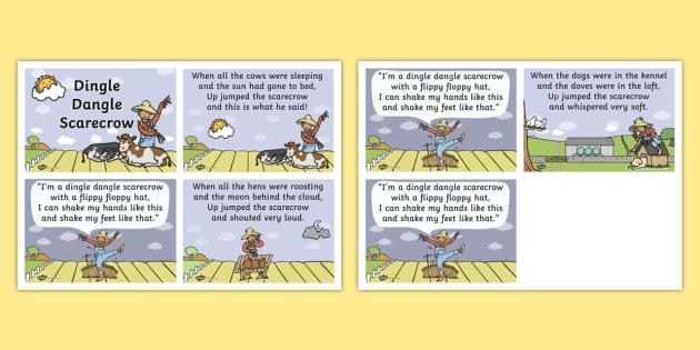 Dingle Dangle Scarecrow Nursery Rhyme Cards - scarecrow, nursery