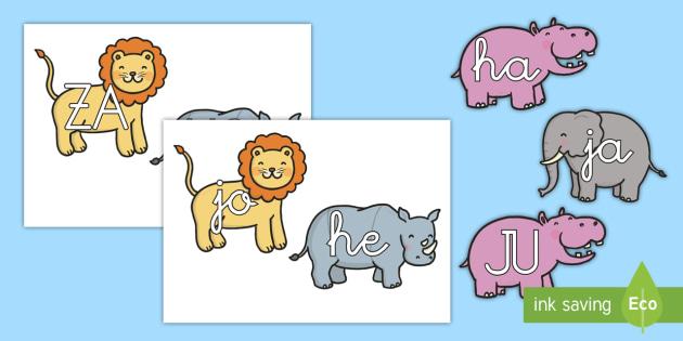 Tarjetas de sílabas: La jungla  - La jungla, trans-curricular, animales, salvajes, mono, elefante, hipopótamo, guepardo, cocodrilo, c