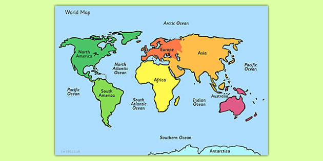 Map With Names  ESL Map of the World