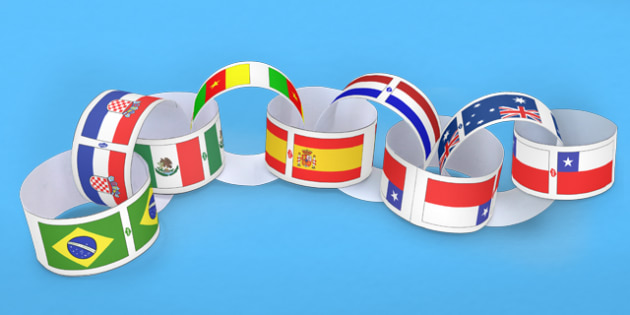 Large World Cup Country Flags Paper Chains - football, sport